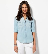アメリカンイーグル レディース シャツ American Eagle AE Chambray Boyfriend Shirt Light Wash