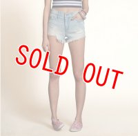 ホリスター  デニムショートパンツ レディース Hollister Hollister High Rise Short-Shorts Destroyed Light Wash