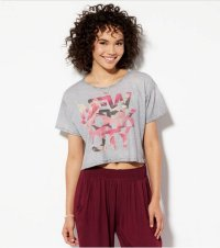 アメリカンイーグル レディース Tシャツ American Eagle Cropped Graphic T-Shirt Made In Italy By AEO Grey
