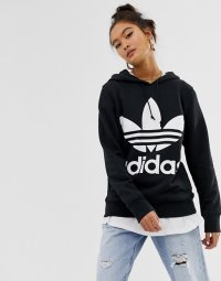アディダス パーカー トレーナー レディース Adidas Originals adicolor trefoil hoodie in black