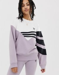 アディダス パーカー トレーナー レディース adidas Originals Linear sweater in lilac and black