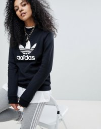 アディダス パーカー トレーナー レディース Adidas Originals adicolor trefoil oversized sweatshirt in black ブラック