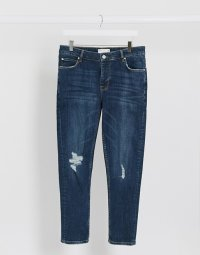 エイソス スキニー ジーンズ メンズ  ブルー ASOS DESIGN cropped skinny jeans in dark wash blue with knee rips