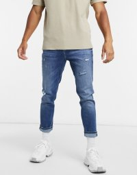 エイソス テーパード ジーンズ メンズ ブルー ASOS DESIGN tapered carrot fit jeans mid wash blue with abrasions