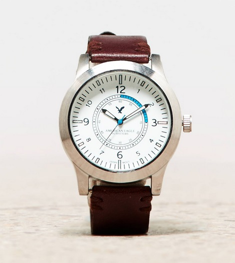 sports shoes 2235b 2022a アメリカンイーグルメンズ時計 AEO Leather Watch Brown ...
